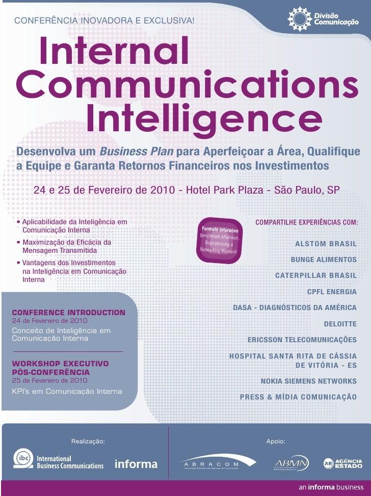CONFERÊNCIA INOVADORA E EXCLUSIVA!     Internal Communications     Intelligence  Desenvolva um Business Plan para Aperfeiç...