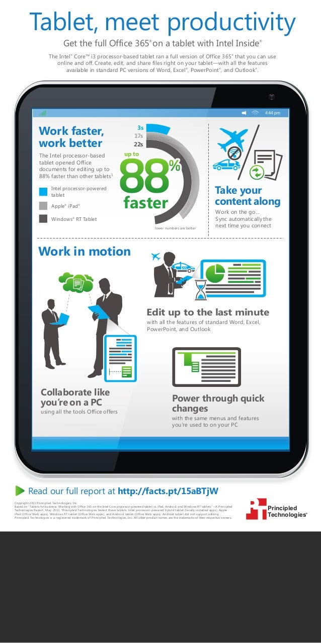 Tablet, meet productivity Get the full Office 365 on a tablet with Intel Inside ®  ®  The Intel® Core™ i3 processor-based ...