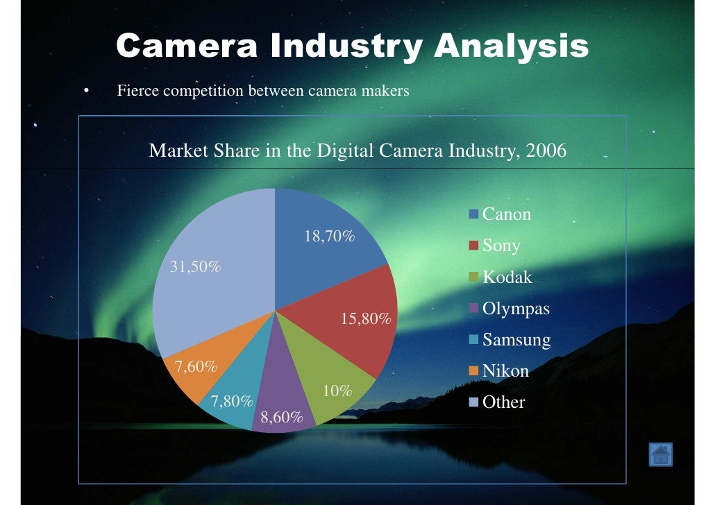 swot analysis of canon camera industry Canon marketing plan april 15th 2012 table of contents statement of confidentiality & non-disclosure 3 executive summary 4 1 situation analysis 5 11 industry analysis 5 12 sales analysis 6 13 competitive analysis 8 14 customer analysis 11 15 swot analysis 11.