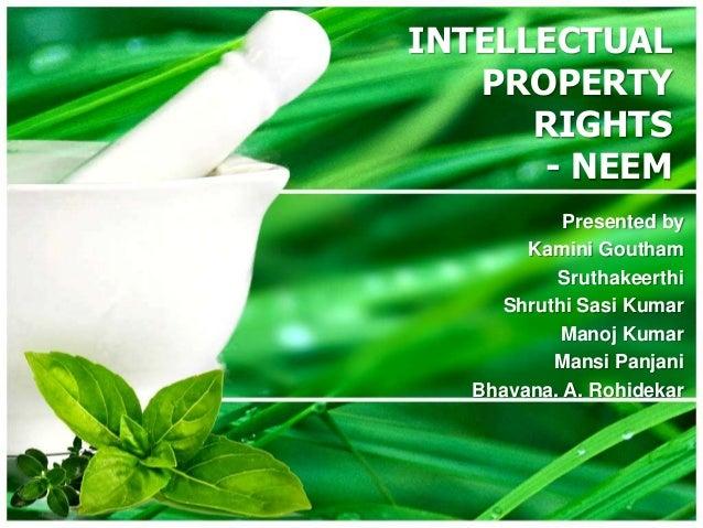 INTELLECTUAL PROPERTY RIGHTS - NEEM Presented by Kamini Goutham Sruthakeerthi Shruthi Sasi Kumar Manoj Kumar Mansi Panjani...