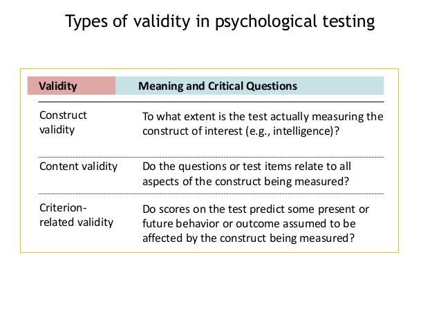 critical analysis of psychometric testing in Validity of psychometric assessments  another type of study involves testing applicants,  factor analysis is often used to investigate the construct validity.