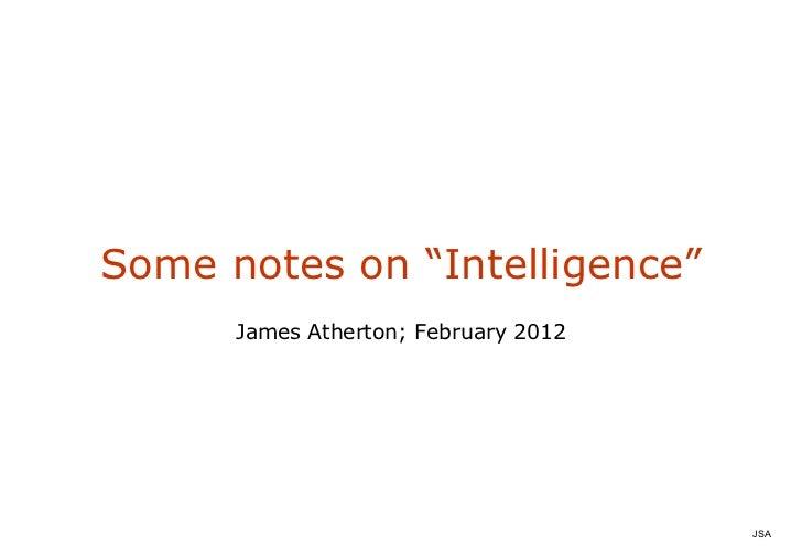 """Notes on """"Intelligence"""""""