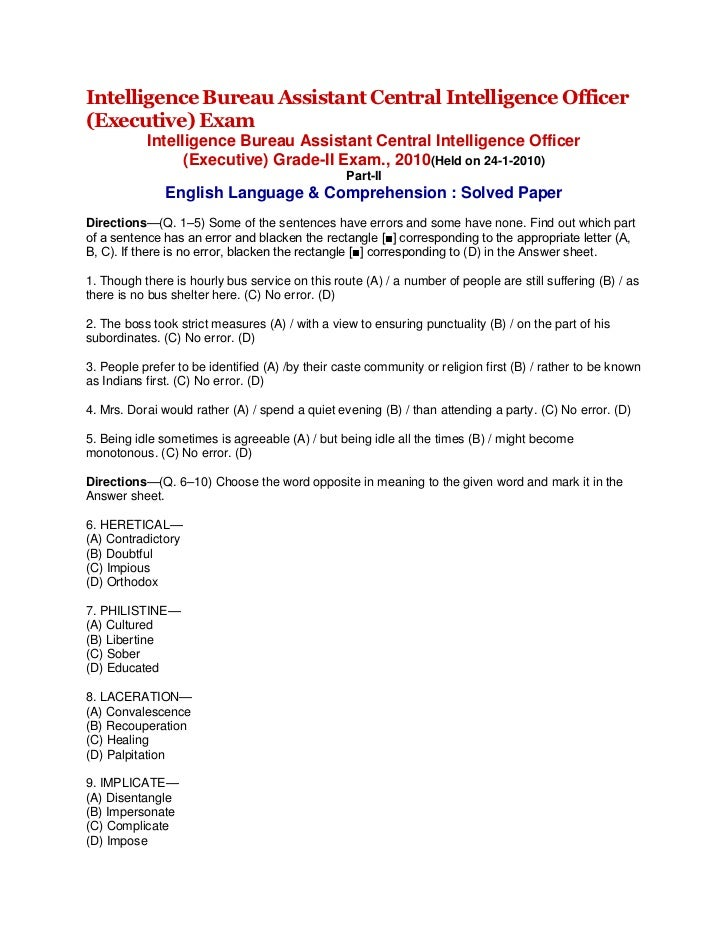 Intelligence Bureau Assistant Central Intelligence Officer (Executive) Exam<br />Intelligence Bureau Assistant Central Int...