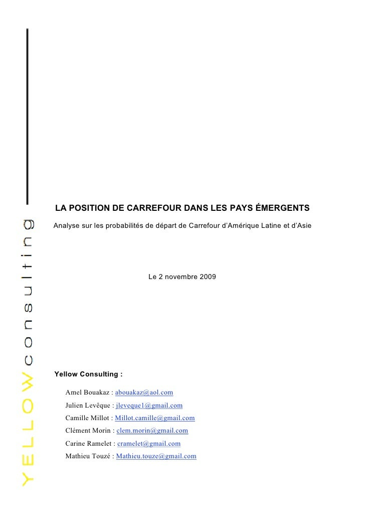 Intelligence économique  Étude  Carrefour