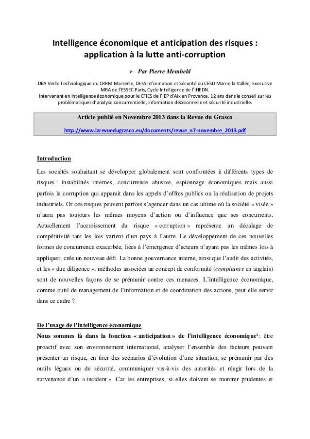 Intelligence économique et anticipation des risques : application à la lutte anti-corruption  Par Pierre Memheld DEA Veil...