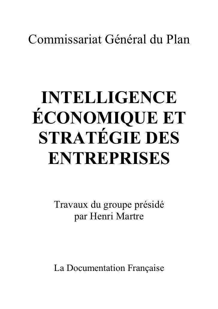 Intelligence économique et stratégie des entreprises rapport martre 1994