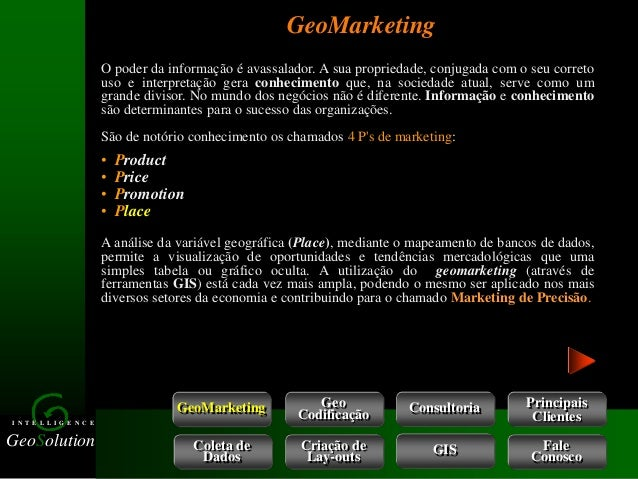 GeoSolution I N T E L L I G E N C E GeoMarketing GeoMarketing Consultoria Coleta de Dados Criação de Lay-outs Geo Codifica...