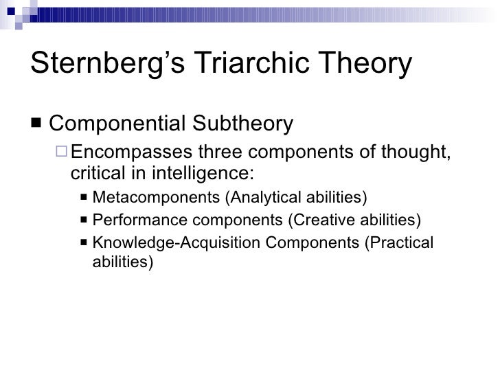 sternberg s triarchic theory of intelligence Sternberg's multiple intelligences: accommodating students' abilities through advanced the triarchic theory of intelligence sternberg's triarchic.