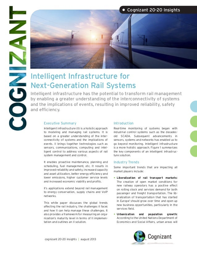 Intelligent Infrastructure for Next-Generation Rail Systems Intelligent infrastructure has the potential to transform rail...