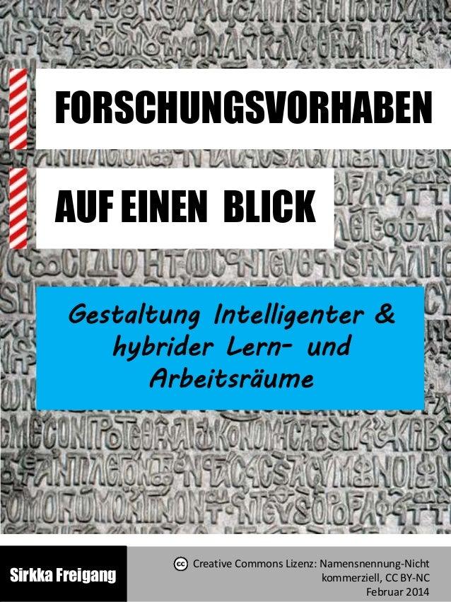 FORSCHUNGSVORHABEN AUF EINEN BLICK Gestaltung Intelligenter & hybrider Lern- und Arbeitsräume Sirkka Freigang Creative Com...