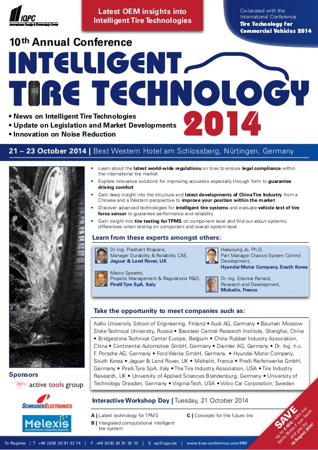 Interactive Workshop Day | Tuesday, 21 October 2014 A | Latest technology for TPMS B | Integrated computational intelligen...