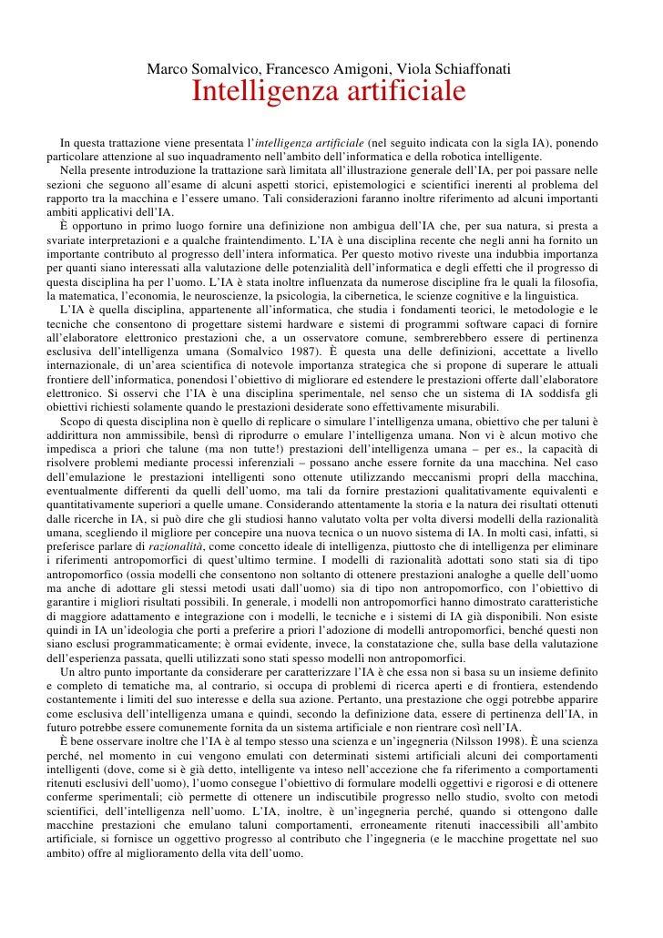 Marco Somalvico, Francesco Amigoni, Viola Schiaffonati                               Intelligenza artificiale    In questa...
