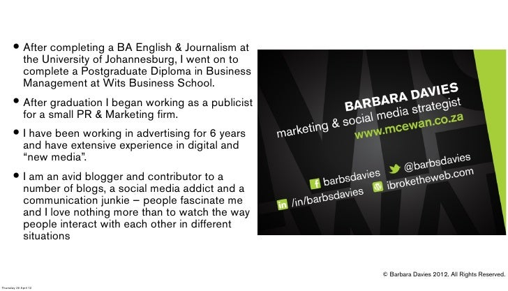 • After completingJohannesburg,&I Journalism at         the University of                           a BA English          ...