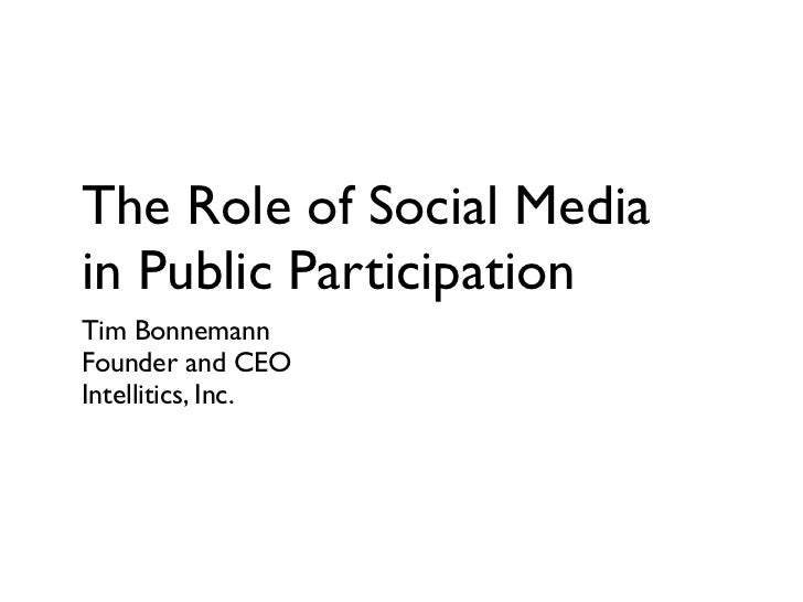 The Role of Social Media in Public Participation