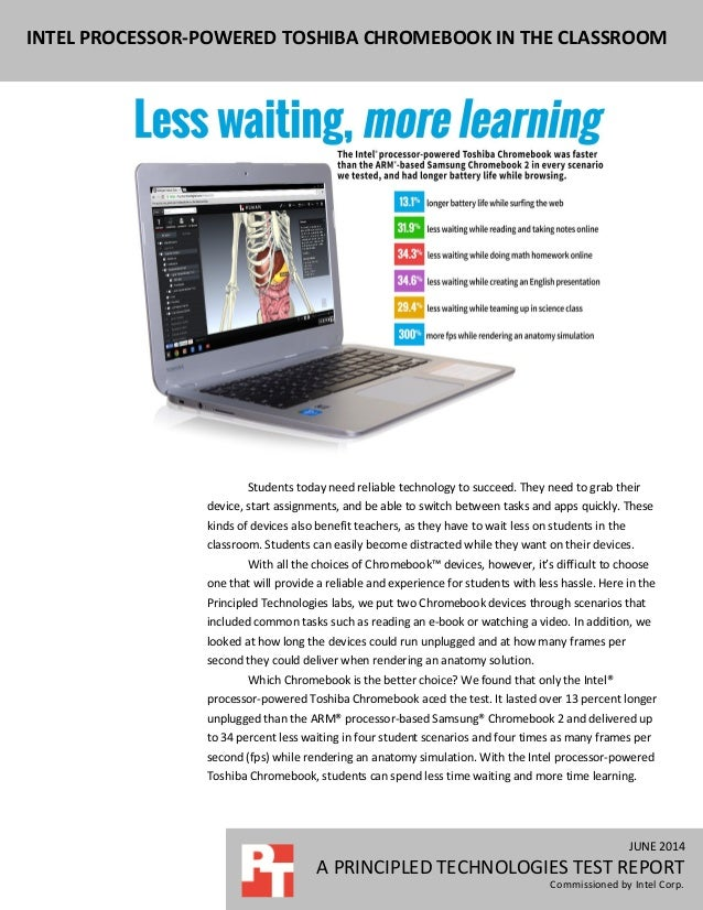 Intel processor-powered Toshiba Chromebook in the classroom