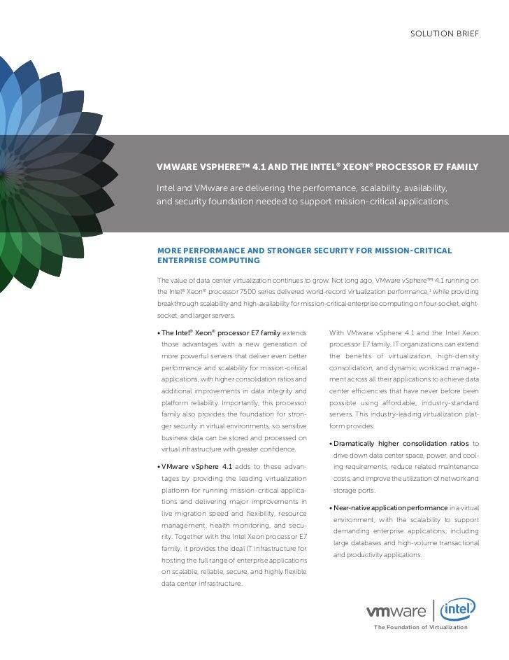 VMware vSphere 4.1 and the intel Xeon Processor E7 Family