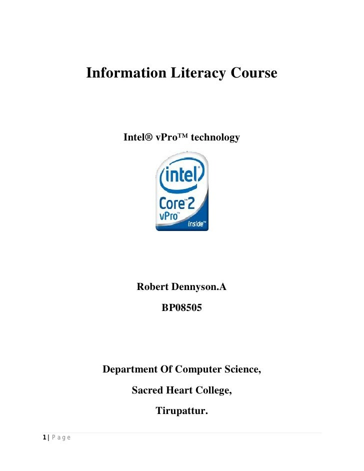Information Literacy Course                     Intel® vPro™ technology                        Robert Dennyson.A          ...