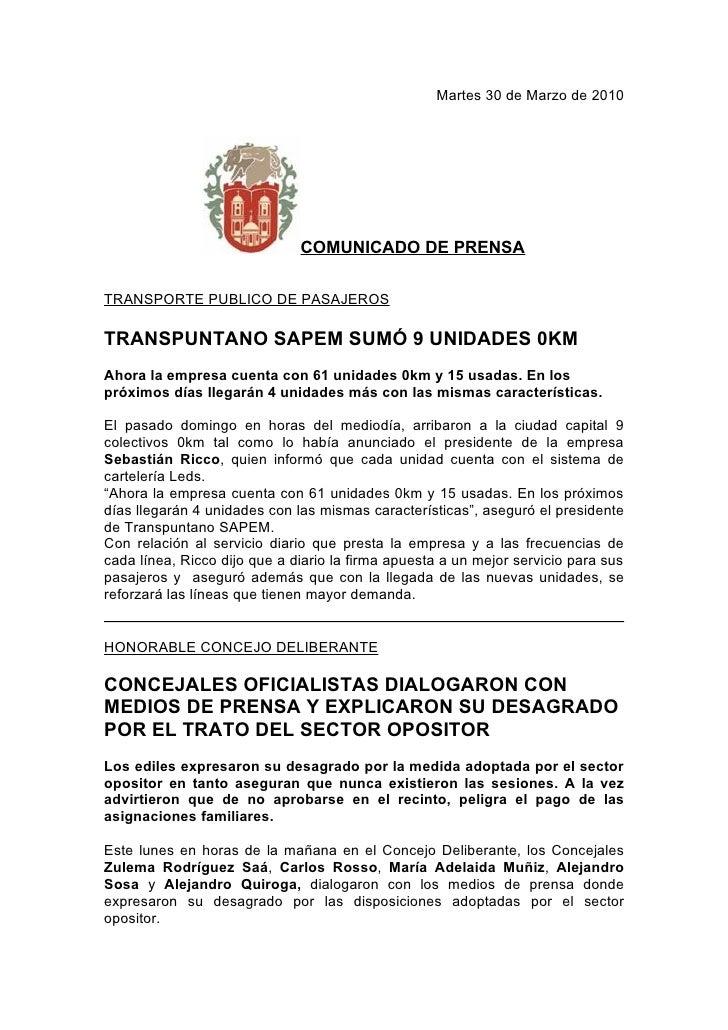 Martes 30 de Marzo de 2010                                   COMUNICADO DE PRENSA  TRANSPORTE PUBLICO DE PASAJEROS  TRANSP...