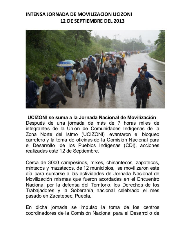 INTENSA  JORNADA  DE  MOVILIZACION  UCIZONI   12  DE  SEPTIEMBRE  DEL  2013              UCIZO...