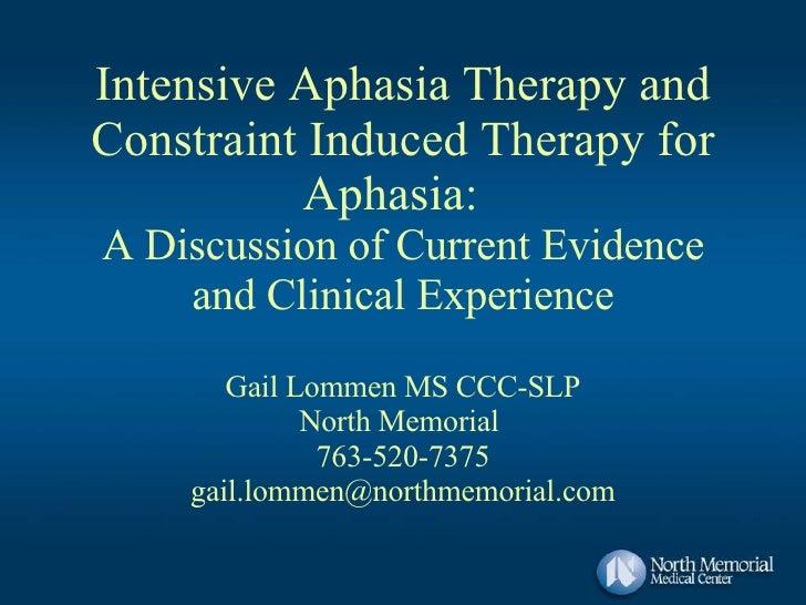Intensive Aphasia Program