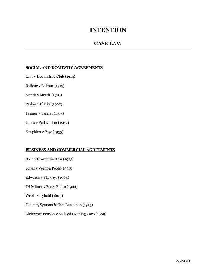 INTENTION                                          CASE LAWSOCIAL AND DOMESTIC AGREEMENTSLens v Devonshire Club (1914)Balf...