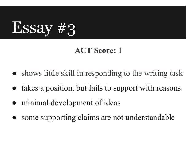 good act writing essay score We know what the act writing test is and how it's scored here is a sample essay, which obtained the score 6 want to see more act sample essay.