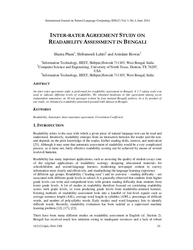 Inter rater agreement study on readability assessment in bengali