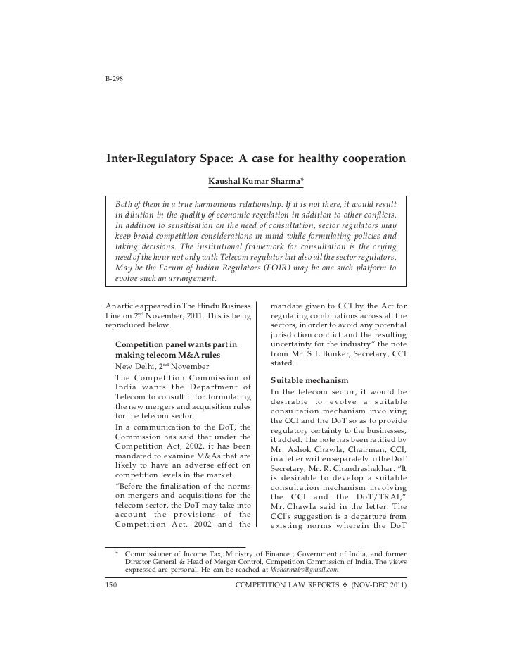 B-298                               Competition Law Reports                          [Vol. 2Inter-Regulatory Space: A case...