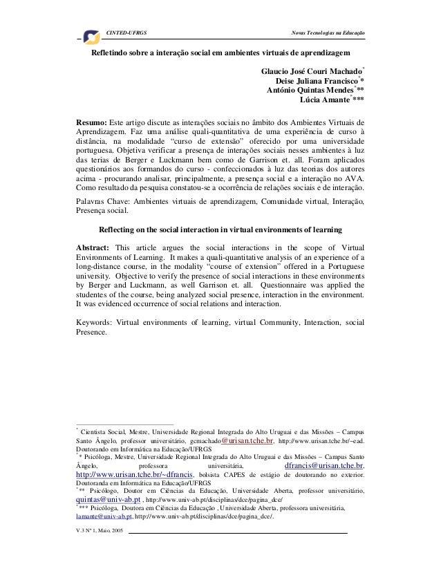 CINTED-UFRGS                                                  Novas Tecnologias na Educação      Refletindo sobre a intera...