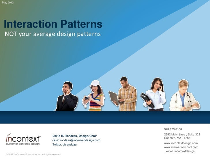Interaction patterns: NOT your Average Design Patterns