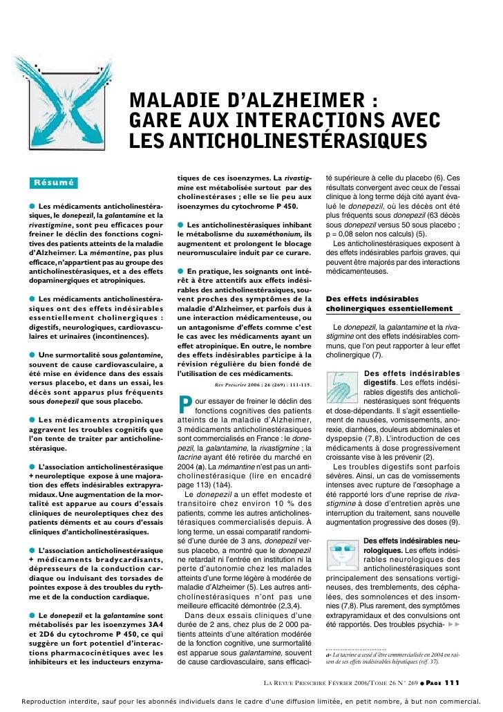 MALADIE D'ALZHEIMER :                                 GARE AUX INTERACTIONS AVEC                                 LES ANTIC...