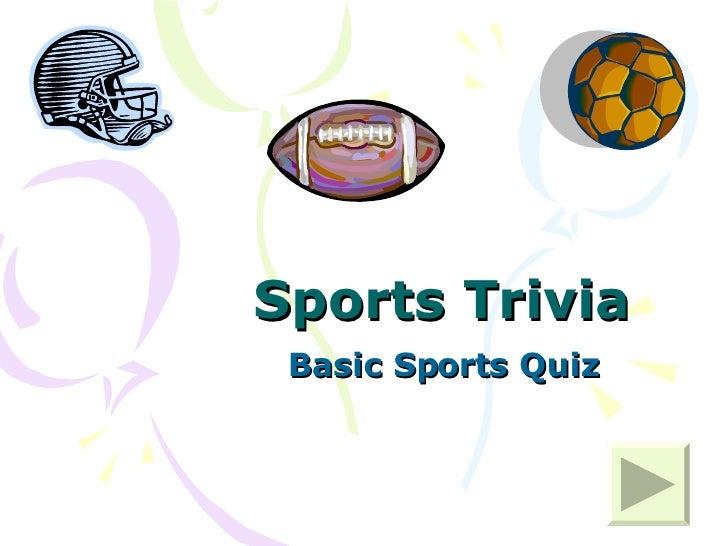Sports Trivia Basic Sports Quiz