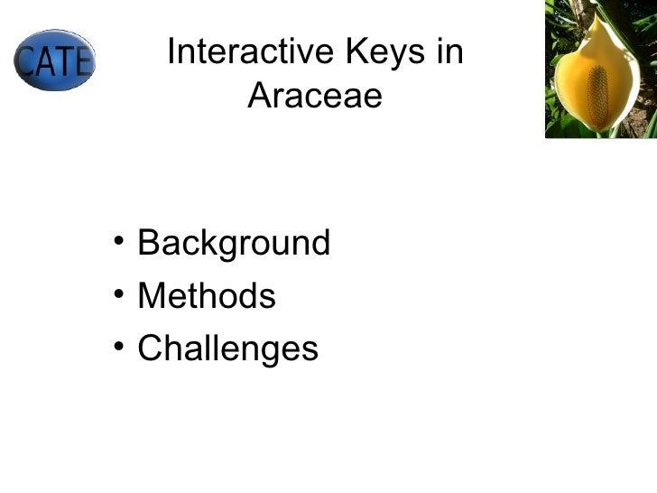 Interactive Keys in Araceae