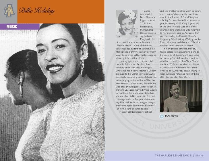 Billie Holiday                                  Singer,                                                     jazz vocalist....