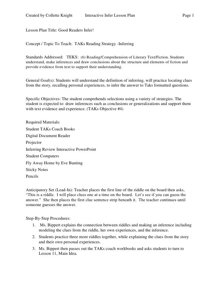 Created by Collette Knight         Interactive Infer Lesson Plan                             Page 1Lesson Plan Title: Good...