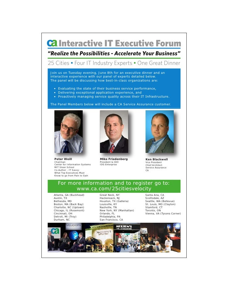 """Interactive IT Executive Forum """"Realize the Possibilities - Accelerate Your Business"""" 25 Cities • Four IT Industry Experts..."""