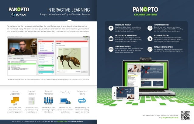 LECTURE CAPTURE  INTERACTIVE LEARNING LECTURE CAPTURE  Panopto Lecture Capture and Top Hat Classroom Response  of any size...