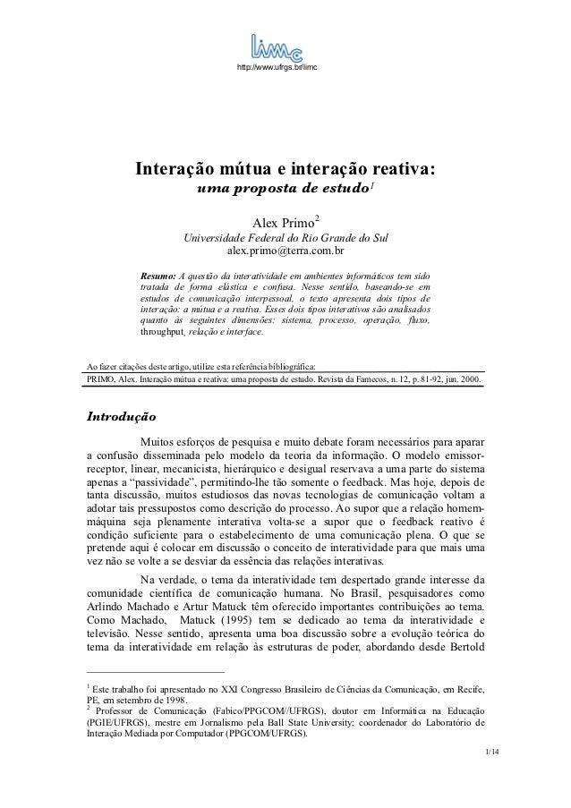 http://www.ufrgs.br/limc              Interação mútua e interação reativa:                                 uma proposta de...