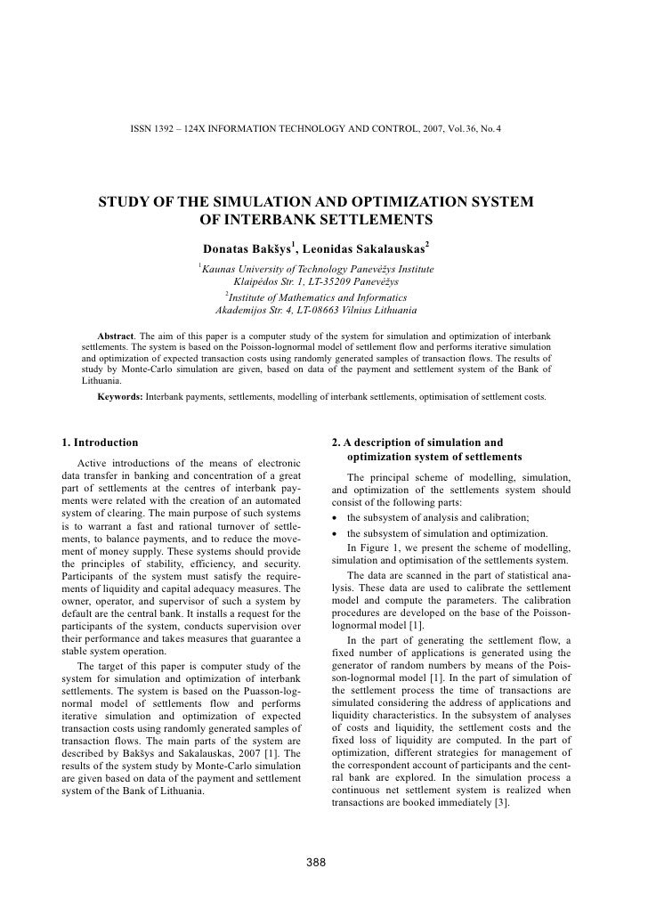 ISSN 1392 – 124X INFORMATION TECHNOLOGY AND CONTROL, 2007, Vol. 36, No. 4              STUDY OF THE SIMULATION AND OPTIMIZ...