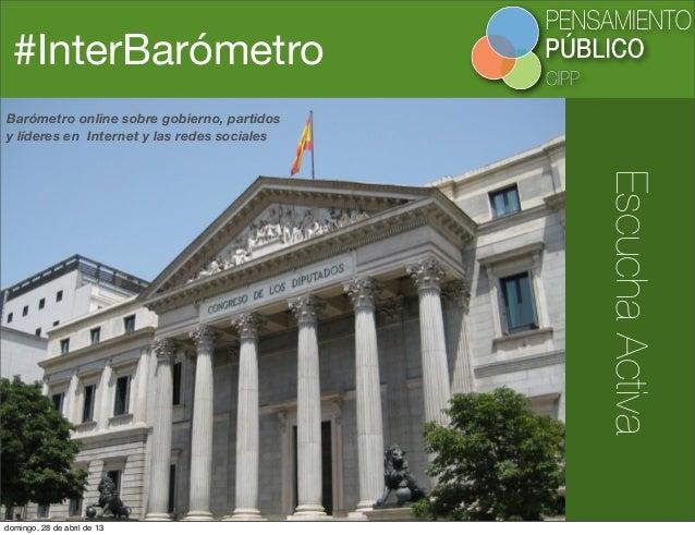 #InterBarómetroEscuchaActivaBarómetro online sobre gobierno, partidosy líderes en Internet y las redes socialesdomingo, 28...