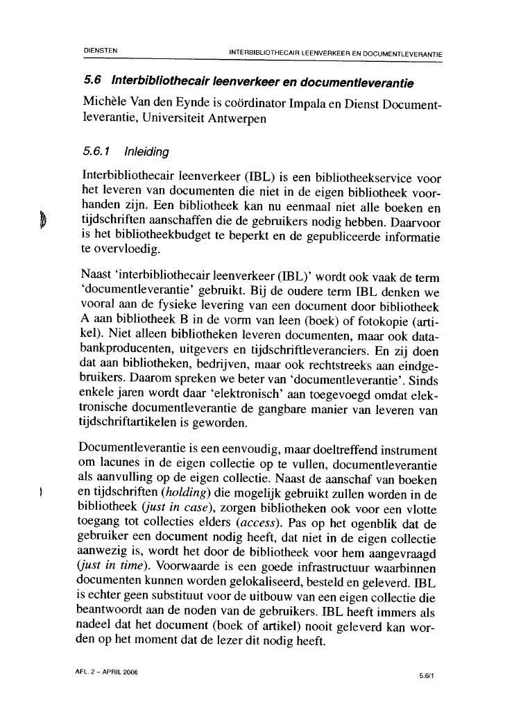 Interbibliothecair leenverkeer en documentleverantie (Michèle Van den Eynde)