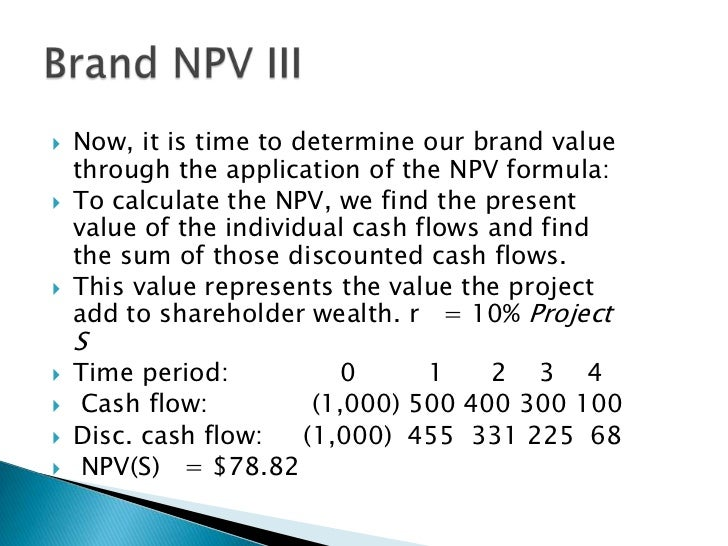 wealth maximization and the npv method Work towards the goal of shareholder wealth maximization for capital budgeting include: net present value net present value method general.