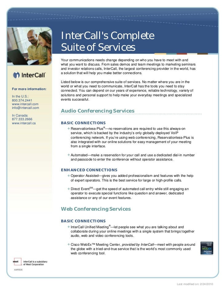 InterCalls Complete                        Suite of Services                        Your communications needs change depen...