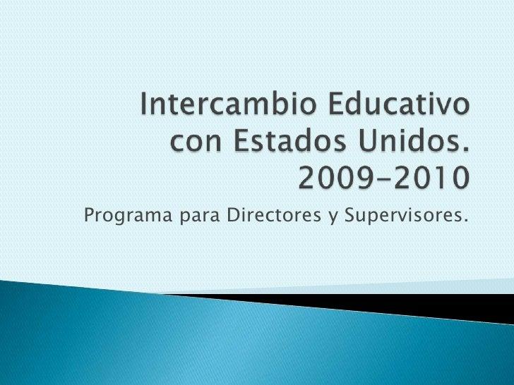 Programa para Directores y Supervisores.
