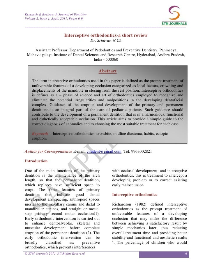 Research & Reviews: A Journal of DentistryVolume 2, Issue 1, April, 2011, Pages 6-9.______________________________________...