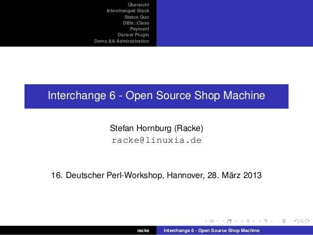 Übersicht Interchange6 Stack Status Quo DBIx::Class Payment Dancer Plugin Demo && Administration Interchange 6 - Open Sour...