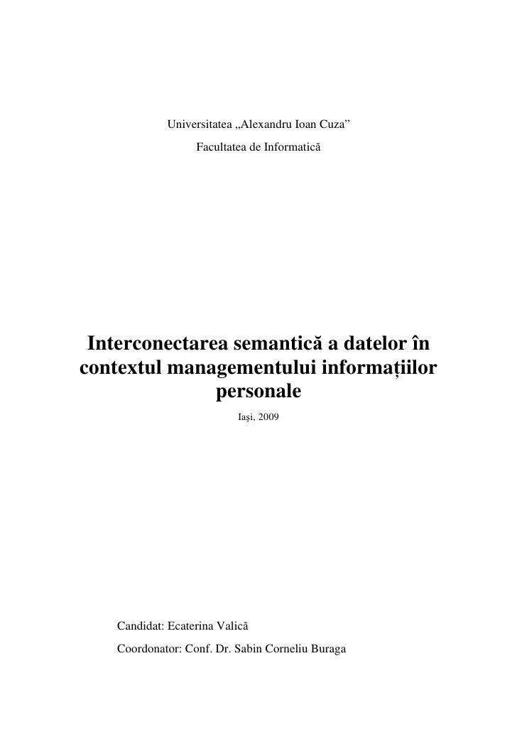Interconectarea Semantica A Datelor In Contextul Managementului Informatiilor Personale