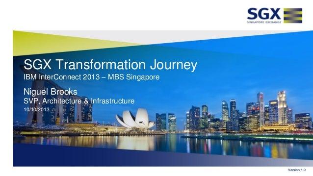 SGX Transformation Journey IBM InterConnect 2013 – MBS Singapore Niguel Brooks SVP, Architecture & Infrastructure 10/10/20...