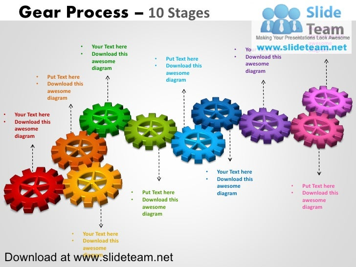 Interconnected gear pieces  smart arts process 10 stages style 2 powerpoint diagrams and powerpoint templates