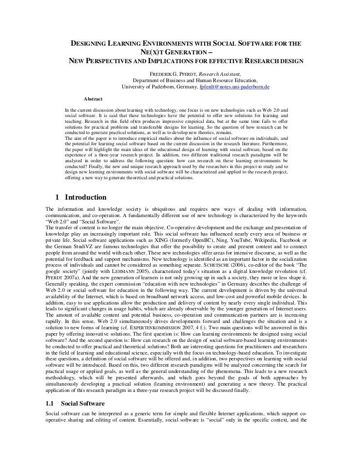 DESIGNING LEARNING ENVIRONMENTS WITH SOCIAL SOFTWARE FOR THE                              NE(X)T GENERATION –           NE...